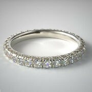 Round Cut Real 1.00 Ct Diamond Engagement Eternity Bands 14k White Gold Size 6 7