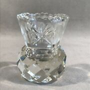 Pv06223 Vintage Pressed Crystal Toothpick- Thistle / Crown With Star And Flower