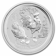 2017 Australian Lunar Year Of The Rooster 2 Oz Silver Coin Bu Sealed Roll Of 5
