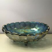 Carnival Glass Garland Oval Fruit/centerpiece Bowl Indiana 4 Toed Blue Embossed