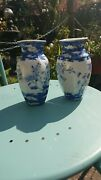 A Pair Of Vintage Oriental Blue And White Vases