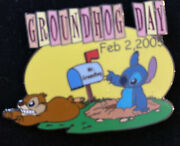 Disney Auctions Groundhog Day Stitch Le 500 Pin New On Card Ground Hog 2005