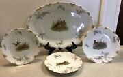 R. Delinieres And Cie Limoges 4pc Game Bird Plate And Platter Set Signed Late 1800's