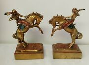 Armor Bronze Co Taunton Ma Indian Salute Warrior On Rearing Horse Bookends
