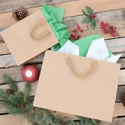 Brown Paper Bags With Fancy Twill Handles – 16x6x12 Inches 25 Pcs. Paper...