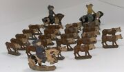 Vintage Original Toys Lot Of 25 Cast Iron Cows And Cowboys