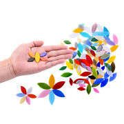 100pcs Hand-cut Petal Mosaic Tiles Mixed Colors Stained Glass Leaves For Crafts