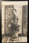 Antique 1900s French Rppc Japanese Young Lady With Paper Umbrella-unposted