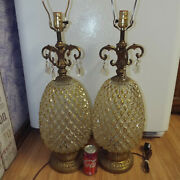 Two 33 Pineapple Lamps Cut Crystal Vtg Brass Jewels Victorian Antique Mcm Rare