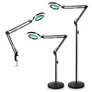Tomsoo 3-in-1 Magnifying Glass Floor Lamp With Clamp White/warm White Lighted -