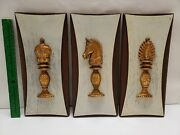 Mcm Vintage Burwood Chess Piece Wall Plaques Mid Century Set Of 3
