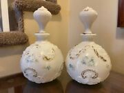 2 Old Milk Glass Barber Bottles W Stoppers Hand Painted Antiqueandnbsp