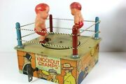 Vintage 1930and039s Marx Tin Litho Celluloid Wind Up Knockout Champs W/ Box - Rare