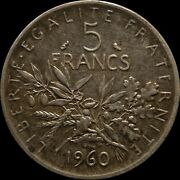 France Silver Coin 5 Francs 1960 La Semeuse The Sower Foreign Coin