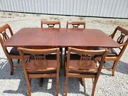 Duncan Phyfe Dining Table And 6 Chairs Harp Lyre