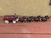 Vintage Cast Iron 8 Horse And Buggy Clydesdales Beer Barrel Wagon 36 Long