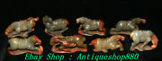 4 China Natural Hetian Jade Carve 12 Zodiac Horse Jun Horses Animal Statue Set
