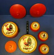 Vintage Wolverine Tin Litho Rooster Childs Play Dishes Cookware Toy Set Lot Of 8