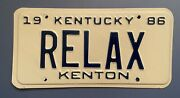 1980's Kentucky Vanity Relax License Plate Personalized Chill