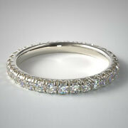Round Solid 14k White Gold 0.75 Ct Natural Diamond Bridal Eternity Band Size 7 8