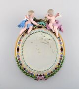 Antique Meissen Porcelain Mirror With Original Glass. Decorated With Putti.