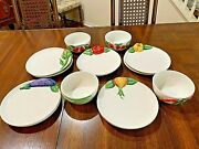 Rare Vintage Italian Pottery Dishes/bowls 9199 Hand Painted Vegetables Euc