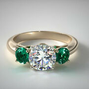 1.70 Ct Natural Diamond Emerald Gemstone 14k Solid Yellow Gold Ring Size 5 6 7 8