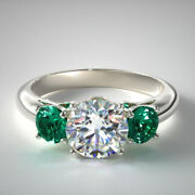 1.70 Ct Natural Diamond Emerald Gemstone 14k Solid White Gold Rings Size 5 6 7 8