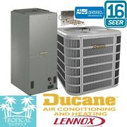 2 Ton A/c Split System 16 Seer Ducane Lennox Cond And Air Handler With Heat Strip