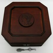 Lost Coins Of The 19th Century Storage Box For Type Set Wooden W/ Key Wood Rare