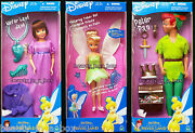 Return To Never Land Jane Doll Peter Pan Tinkerbell Disney Lot 3 Full Set Vg