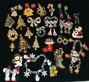Vintage Christmas Brooch Pin Jewelry Lot Wear / Diy Tree Wreath Snowmen