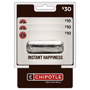 Chipotle 30 Value Gift Cards - 3 X 10