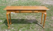 Vintage Ethan Allen Solid Maple Console Entry Sofa Table Matching Benches Stools