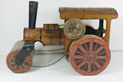 Early 1900and039s Tin Windup Toy Litho German Steam Roller - Scarce