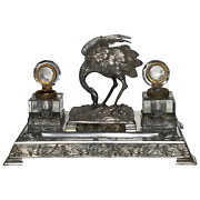 Fine Antique Victorian Silver Plate Crane Bird Inkwell Stand After James Deakin