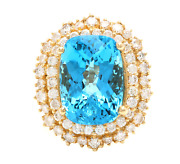 14.60 Carats Natural Swiss Blue Topaz And Diamond 14k Solid Yellow Gold Ring