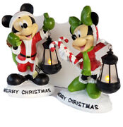 Christmas Disney Mickey And Minnie Mouse Pair Statue Figures - Lighted Lanterns