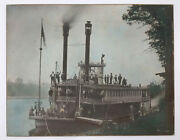 Antique Photograph Steamer Chippewa Eau Claire Wisconsin Hand Colored Late 1860s