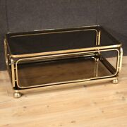 Living Room Coffe Table In Metal With Wheels 2 Shelves Glass Furniture 80s