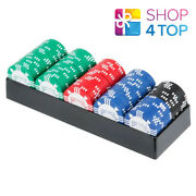 Bicycle 100 Poker Chips Set With Tray Clay Filled 8 Gram Tournament Quality New