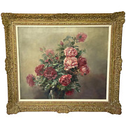 19th Century French School Oil On Canvas Painting A Bowl Of Red And Pink Roses