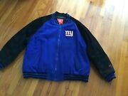 Vintage Nfl Ny Giants Wool/polyester Jacket Size Xxl Leather On Arms Worn Away