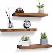 Farmhouse Wooden Floating Wall Shelves Set Of 3 Rustic Perfect For Any Room
