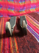 Antique Wooden Ice Skates Set Of Two No Laces Rubber Pads Metal Blades