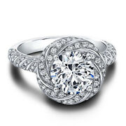 Real 1.50 Ct Moissanite Diamond Engagement Solid 14k White Gold Bands Set Size 9