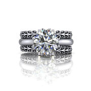 Round Cut Moissanite Solid 14k White Gold 1.26 Ct Solitaire Wedding Bands Size 6