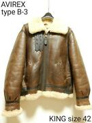 Schott Authentic B-3 Mouton Flight Bomber Jacket Size 42 Used From Japan