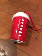 Collectible Starbucks Christmas Ornament Ceramic Red Tumbler Cup 2013 Used