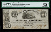 1838-39 50 Obsolete - Houston Texas - Government Of Texas - Graded Pmg 35 Net